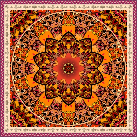 Luxury ornament with mandala flower on decorative ethnic background. Beautiful frame. Tablecloth, carpet, shawl. Indian, ottoman motif. Red tulips wonderful collection. Stock Vector - 124818042