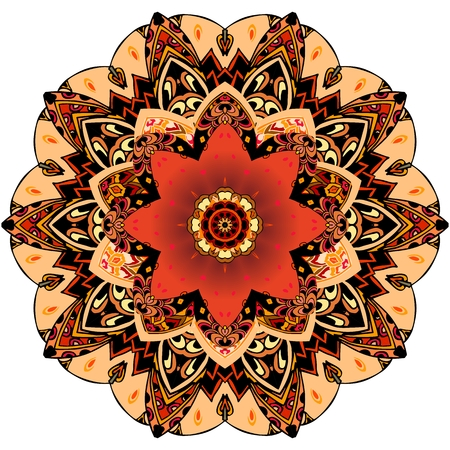 Decorative plate with red tulip and round ornament in ethnic style. Mandala flower pattern. Beautiful collection.