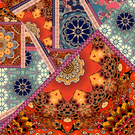 Tapestry or silk scarf in patchwork style. Indian, ottoman, mexican motives. Print for fabric.
