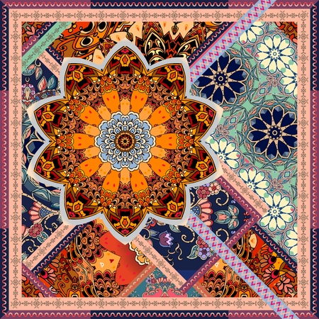 Tea box packaging design, square carpet, pillowcase or unusual shawl with mandala and ornamental border in patchwork style.