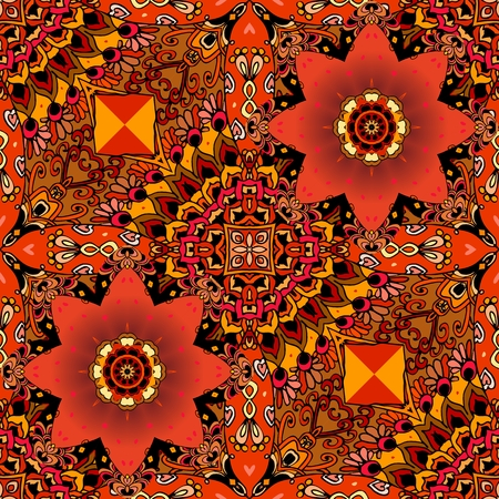 Red tulips seamless ornamental pattern in ethno style. Beautiful collection. arabic, mexican motives.