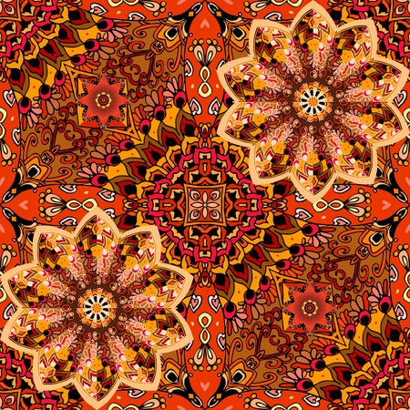 Bright seamless pattern in warm tones. Mandala flower in patchwork style on ornamental background. Mexican, indian motives.