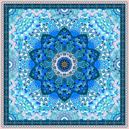 Pañuelo de seda con flor mandala azul sobre fondo ornamental y cenefa. Motivos indios y árabes. Hermoso diseño de invierno.