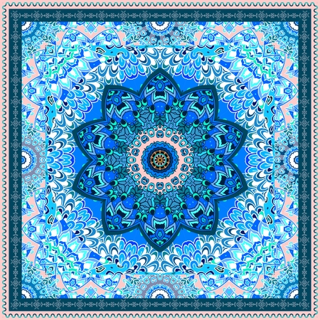 Silk scarf with blue mandala flower on ornamental background and decorative border. Indian, arabian motives. Beautiful winter design.