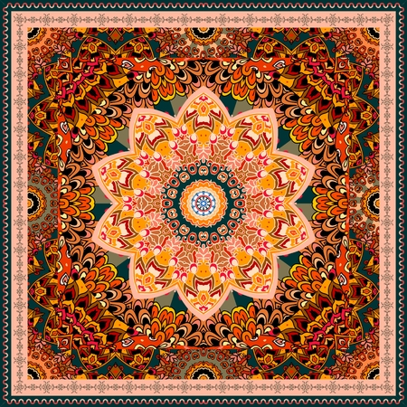 Lovely tablecloth or beautiful bandana print in ethnic style with mandala flower on ornamental background in warm tones Illustration