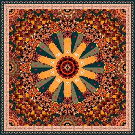 Decorative pattern in shape of wheel in motion on ornamental background. Ethnic style. Bandana print, carpet, wrapping design. Illustration