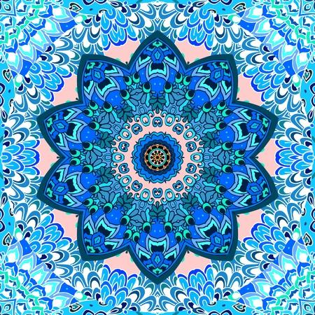 Seamless pattern with blue mandala flower on ornamental background. Ceramic tile, tea box packaging design, carpet, napkin.