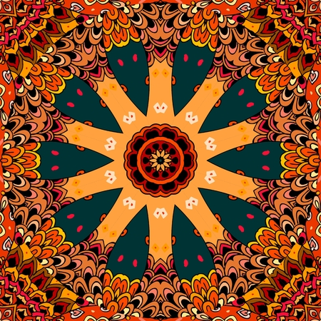 Ornament in ethnic style with large wheel on decorative background. Seamless pattern in vector. Print for fabric, ceramic tile, carpet.