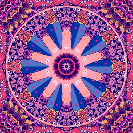 Stylized wheel in motion on the ornamental background. Seamless pattern in pink and lilac colors. Postcard, print for fabric, ceramic tile, design element. Illustration