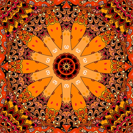 Ethnic seamless pattern with stylized wheel on motley ornamental background. Bandana print, carpet, wrapping design. Illustration