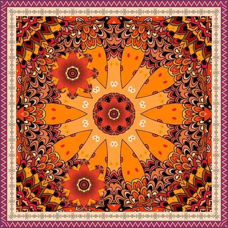 Bandana print with beautiful stylized clock and red tulips on ornamental background. Ethnic motif. Illustration