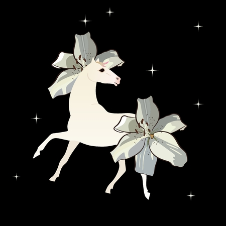 White magic horse with mane and tail in shape of lily flowers isolated on black night sky with glittering stars.