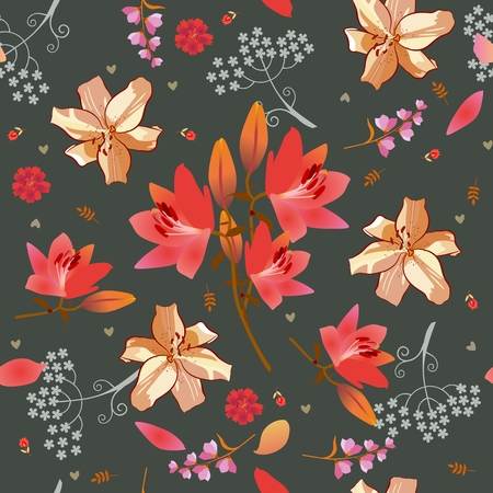 Seamless ditsy floral pattern with pink and golden lilies, bell and umbrella flowera, tiny tulips and little hearts on dark grey background. Print for fabric. Stock Illustratie