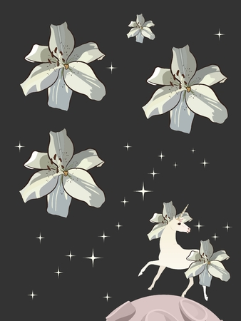 White unicorn with mane and tail in shape of lilies on night sky background with glittering stars in form of beautiful flowers. Greeting or invitation card. Vertical pattern.