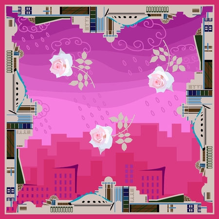 Original bandana print with border from conceptual buildings and tender rose flowers in the center on pink background of cityscape. Shawl or scarf for architect. Standard-Bild - 124652069