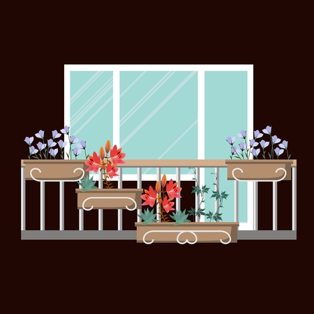 Beautiful small garden with different flowers on the balcony. Design of house greening. 向量圖像