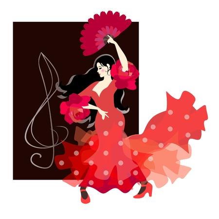 Spanish girl, dressed in a traditional red polka-dot dress and holding a fan in her hand, is dancing flamenco against the background of the treble clef. Beautiful card, logo, poster.