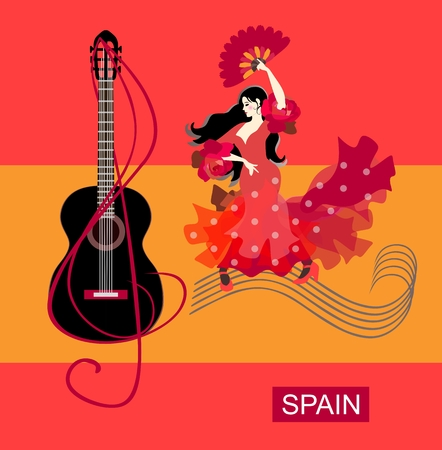 Spanish girl with fan in her hands, dressed in red dress, walks along musical rulers and dances flamenco. Treble clef wraps around black guitar against background of stylized Spain flag. Poster.