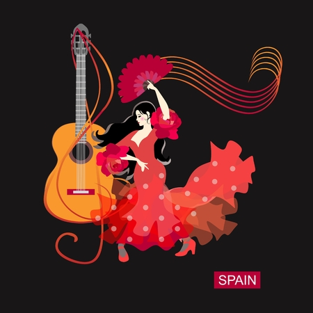 Flamenco logo. Spanish girl dressed in red dress with ruffles on sleeves in form of roses and with fan in her hand dancing against background of treble clef in shape of guitar and musical rulers. 矢量图像