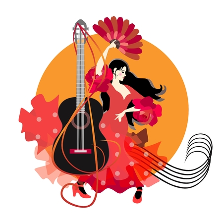 Flamenco logotype. Young spanish girl dressed in red dress, dancing against sun background. Black guitar, treble clef and musiacal rulers in shape of vortex. Illustration