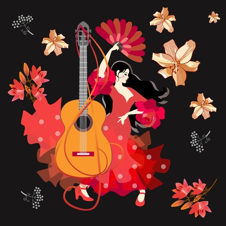 Beautiful card with Spanish girl, dressed in traditional red dress and with fan in her hand, dancing flamenco, treble clef in the shape of guitar and falling flowers against black background.