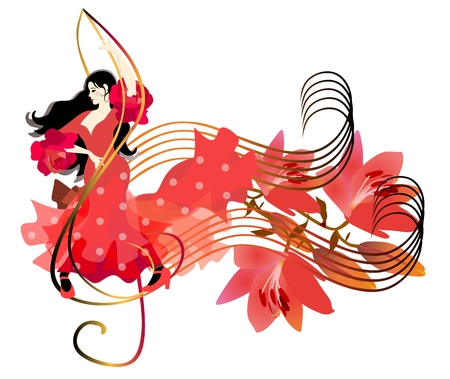 Beautiful Spanish girl in a red dress dancing on the treble clef. A bouquet of lilies on the music line as notes. White background. Banner, poster.