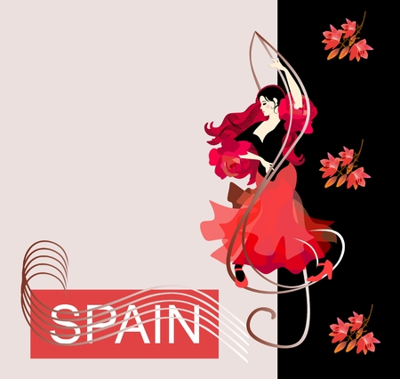 Flamenco logo. Cover for a music album. Beautiful Spanish girl dancing flamenco, standing on the treble clef. Red lilies fall on a black background. Place for text. Note lines resembling waves.