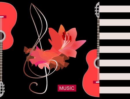 Flamenco musical. Luxury red piece of cloth, big lily flower and silhouette half of guitars on black background. Concert banner template, greeting or invitation card.