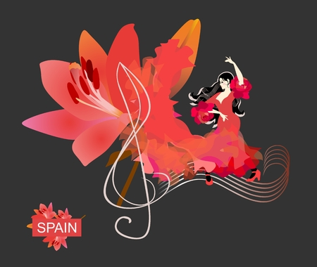 Flamenco. Treble clef and note rulers on black background. Spanish girl dressed in red dress, dancing on sheet music. Fabric, like a flame, turns into big beautiful flower of lily. Concert banner
