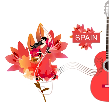 Flamenco dancer girl. Concert poster design. Young spanish woman is dancing on treble clef against big beautiful lily flower. Half of red guitar silhouette and sheet music on white background. 矢量图像