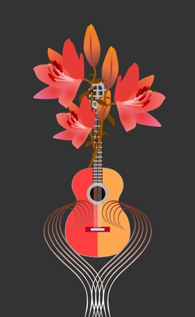 Guitar music festival or composer's competition logo. Red-yellow guitar and bouquet of bright lilies on black background. Stylized musical rulers form the heart.