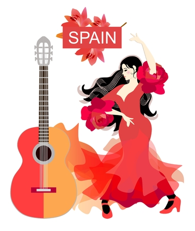 Spanish girl in red dress dancing flamenco next to yellow-red guitar on white background. Ruffles on the sleeves in the form of rose flowers. Strands of hair in the form of musical rulers. Poster.