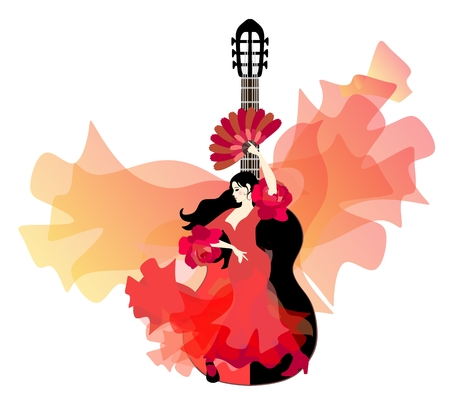 Spanish girl in a traditional red dress with ruffles on the sleeves in the form of roses, with a fan in her hand, is dancing flamenco against black-red guitar and a huge flying shawl.