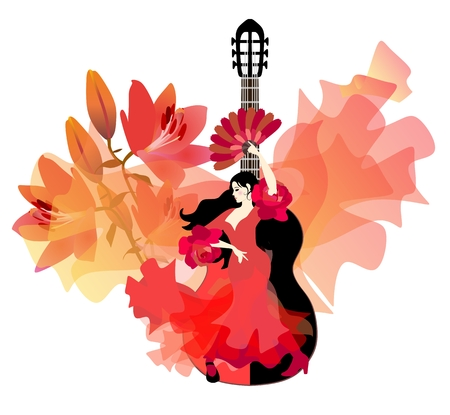 Spanish girl in red dress with ruffles on sleeves in form of roses, with fan in her hand, is dancing flamenco against black and red guitar, huge bouquet of lilies and flying bird-like manton.