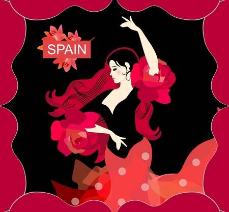 Half-length portrait of Spanish girl dancing flamenco. Fluttering hair like tongues of flame, strands of hair are like musical rulers. Ruffles on sleeves look like roses. Guitar silhouettes form frame