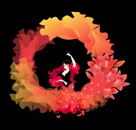 Spanish girl in a long dress dancing flamenco isolated on black background. The soaring hem of the dress and manton form a beautiful ring of fire.