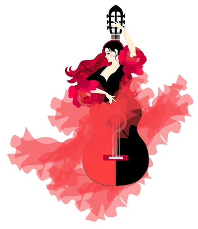 Flamenco logo. Guitar-girl. Elegant dancer in a beautiful long dress on a white background.