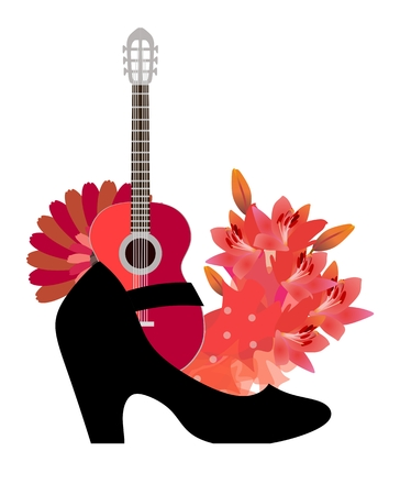 The symbols of flamenco are guitar, fan, red flowers, beautiful polka-dot fabric and dancing slipper. Funny composition on a white background.