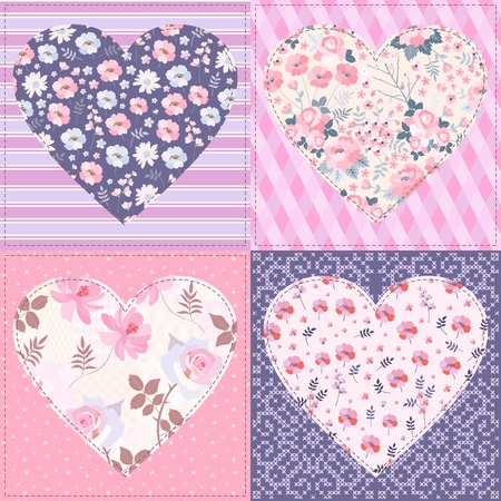 Seamless patchwork pattern with  hearts. Beautiful illustration for Valentines day.