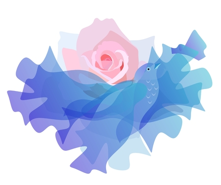 Pink sunrise sun in the form of a rose flower and a cloud, like a flying blue bird. Vektorové ilustrace