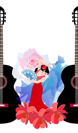 Young Spanish girl in red dress, with rose in her hair and with fan in her hand dancing flamenco. Blue shawl - manton is like a flying bird. Black silhouettes of guitars. Space for text.