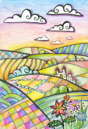 Colorful hilly landscape with castle and flowers. Summer day. Fantasy drawing by colored pencils.