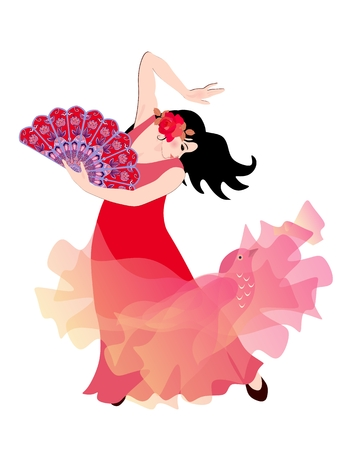 Young Spanish girl or gypsy in a red dress and with a fan in her hand, dancing flamenco isolated on a white background. Semitransparent shawl - manton is like a flying bird. Genuine expression.