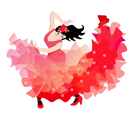 Sexy spanish girl dressed in red dress and with transculent shawl in shape of flying bird is dancing flamenco.