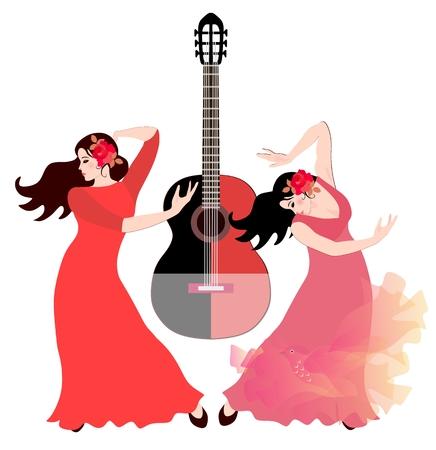 Two Spanish girls in long dresses dancing flamenco. Black - red guitar in the background. Ilustração