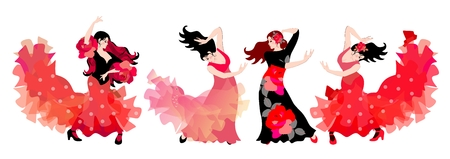 Four spanish girls in long dresses dancing flamenco isolated on white background.