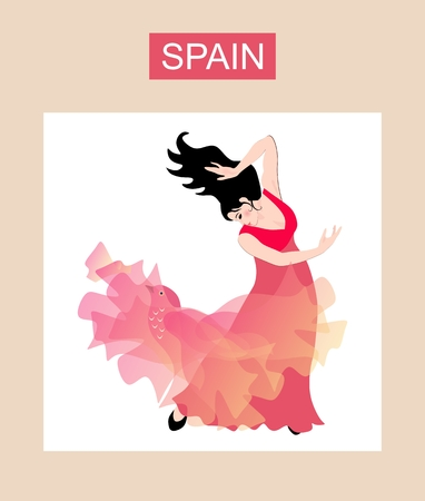 Beautiful black-haired Spanish girl dressed in a long red dress dancing flamenco with a translucent shawl — a manton in the shape of a flying bird. Luxury collection.  イラスト・ベクター素材