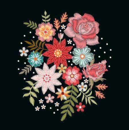 Motif de broderie avec fleurs fantaisie. Bouquet coloré sur fond noir. Illustration vectorielle florale.