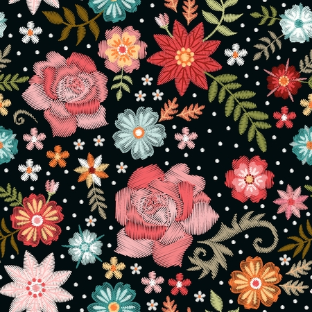 Embroidery seamless pattern with beautiful flowers. Fashion print for fabric and textile. Vector embroidered floral design.