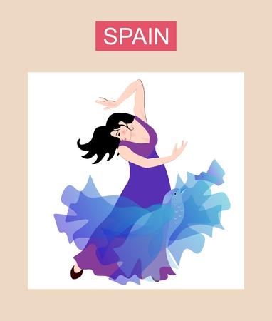 Decorative card with beautiful spanish girl in long lilac dress dancing flamenco.